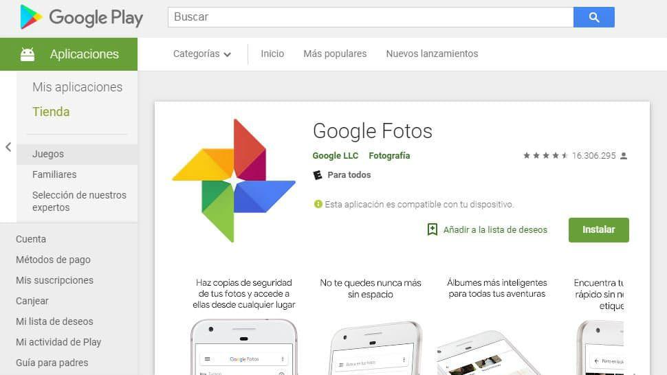 Google Fotos en la Play Store